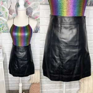 J Crew Mercantile Black Faux Leather Skirt Size 00